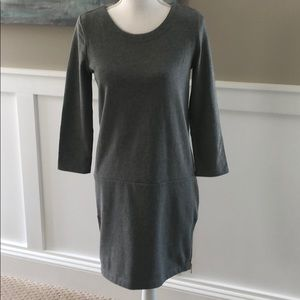 Grey cotton dress with side zippers